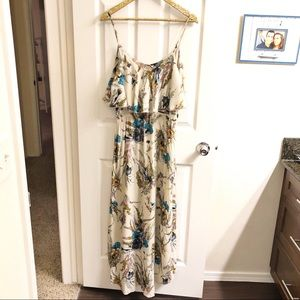 Mimi Chica Cream Floral High Low Maxi Dress